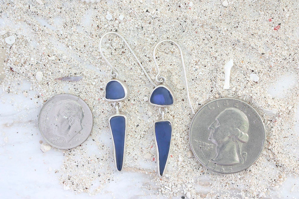 Cobalt Blue Sea Glass Earring Hand crafted in 925 Sterling Silver