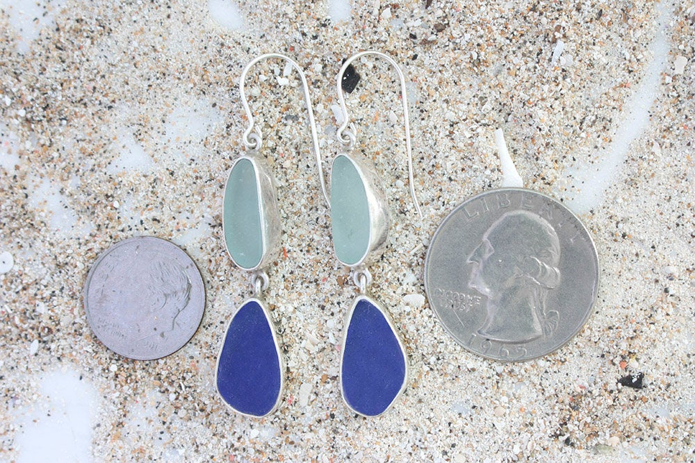 Simple Elegance Sea Glass Earring - 2 drops of sea glass set in sterling silver