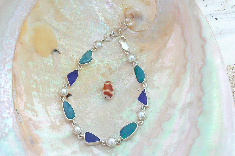 Stunning Combination of  Sea glass & Natural Free form opal dublets set in925 sterling silver bracelet with white pearl accents