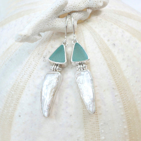 Simple & Elegant Sea glass Earring with Biwa pearl