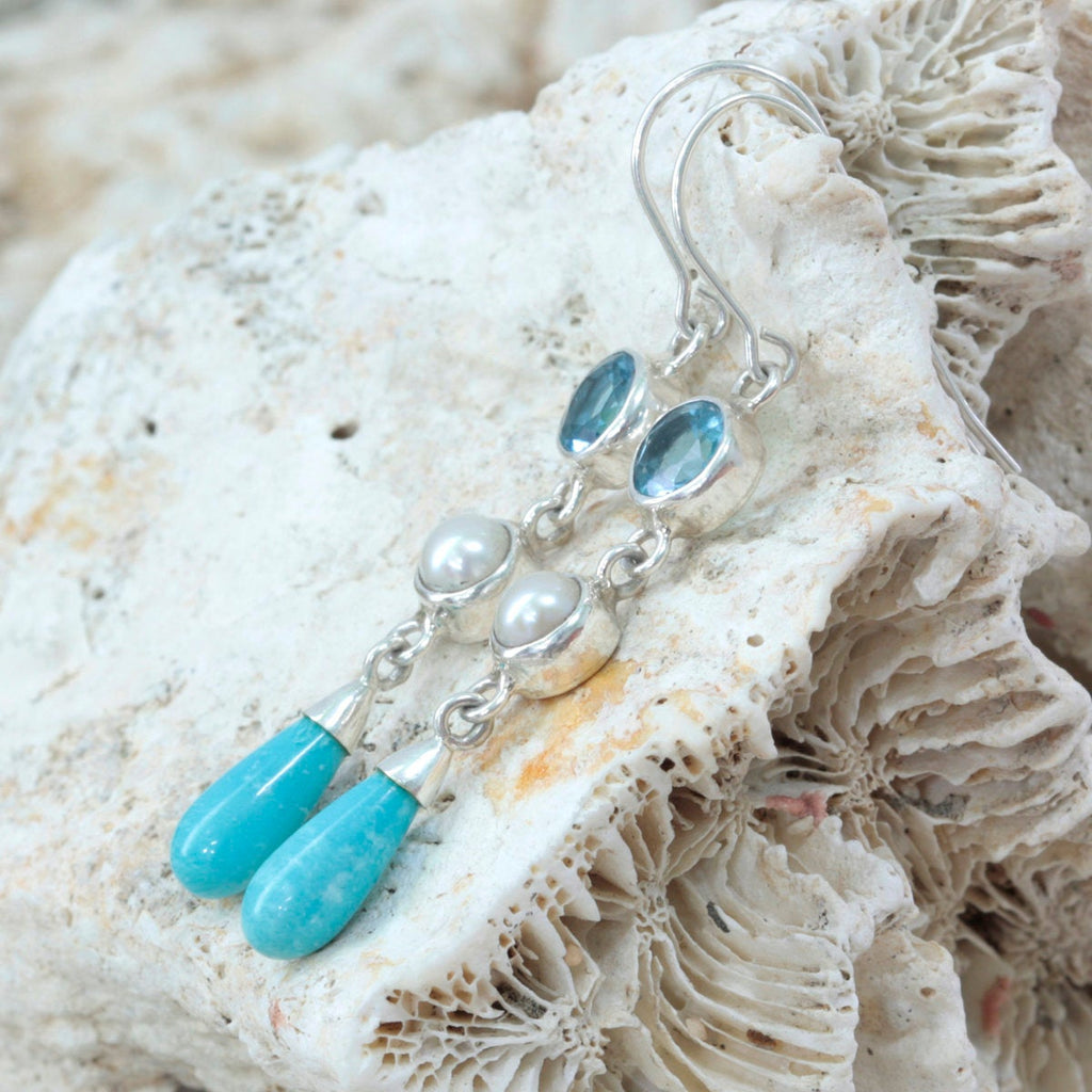 These Simply Elegant drop earrings are a MUST HAVE!  blue topaz, pearl and sleeping Beauty turquoise