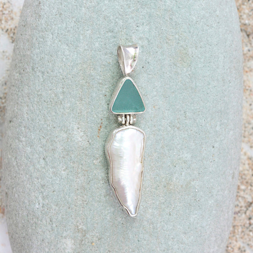 Sea Glass Pearl Pendant