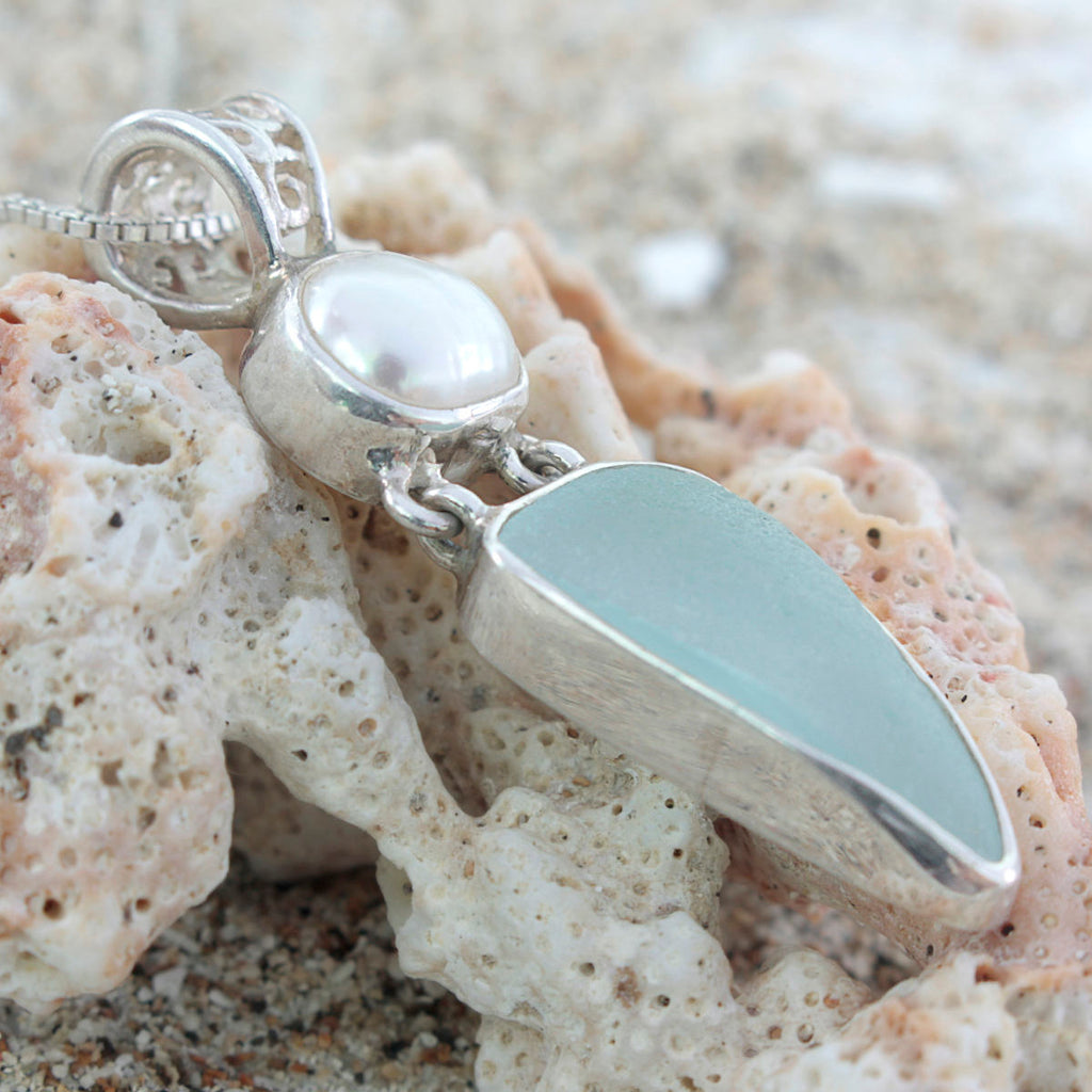 Authentic Aqua Sea Glass and pearl Pendant