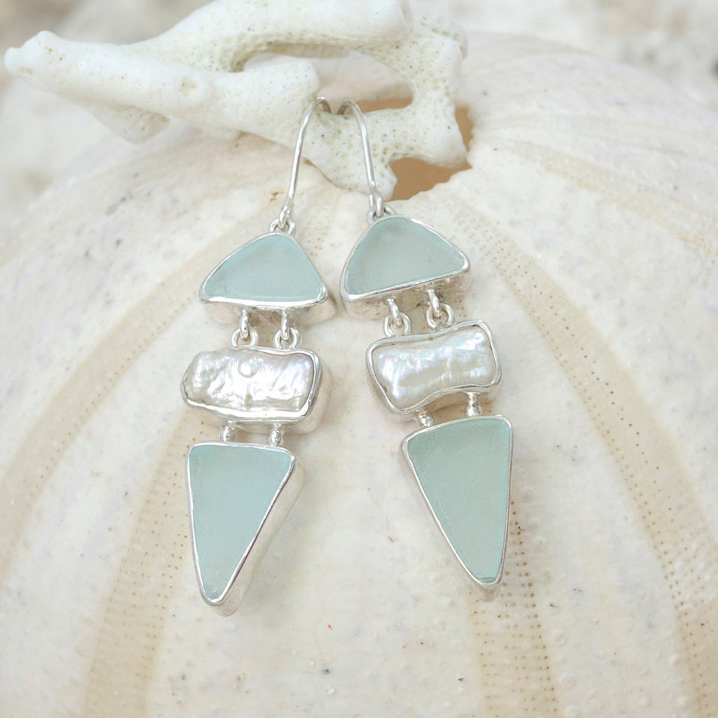 Awsome Aqua Sea glass Earring with natural Biwa pearl