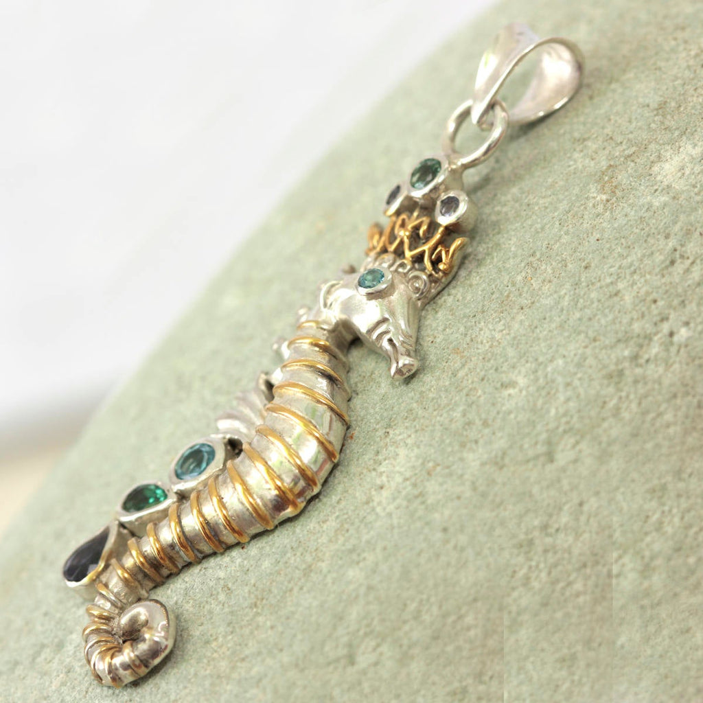 Silver Seahorse Pendant with Jeweled Crown
