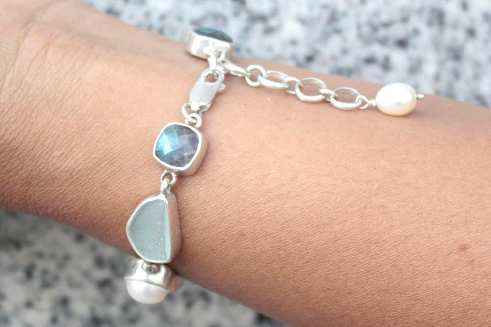 Rare and Stunning!! Aqua Sea Glass bracelet-Genuine sea foam sea glass with Labradorite & natural pearls  exquisitely set in sterling silver