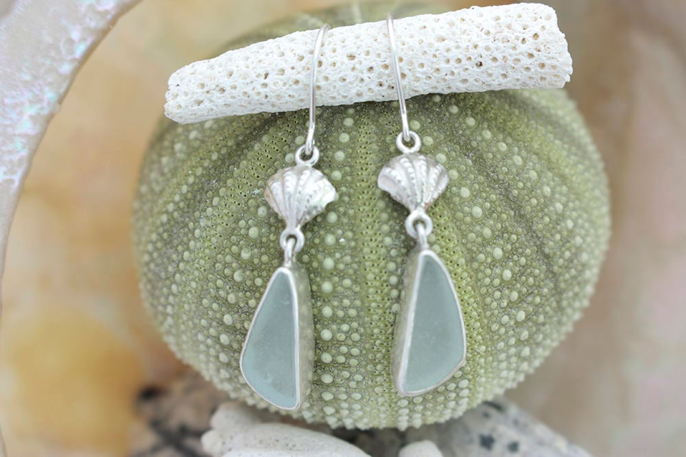 Silver Sea Shell EARRING with Authentic Sea glass drop