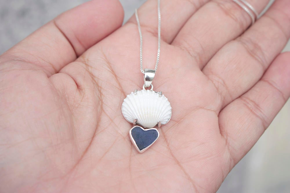 Sea Shell Pendant has heart of Cobalt Blue Sea Glass !