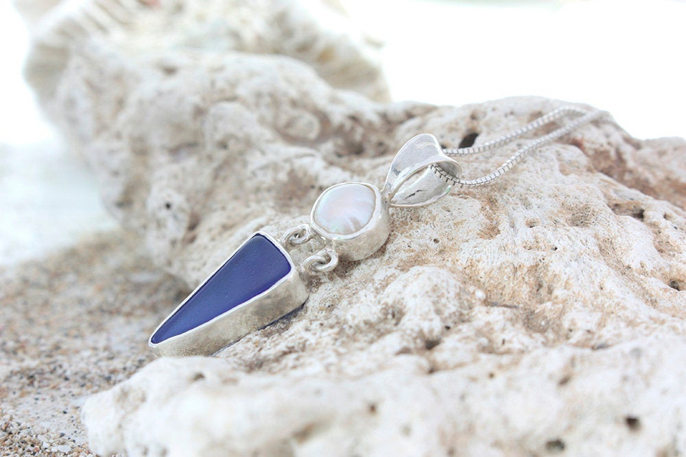 Cobalt Blue Sea Glass Pendant and Pearl  accent stone