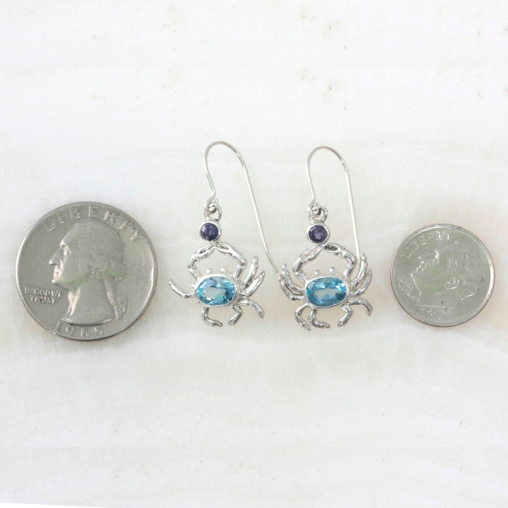 Blue Crab Earrings featuring Blue topaz & iolite gem stones