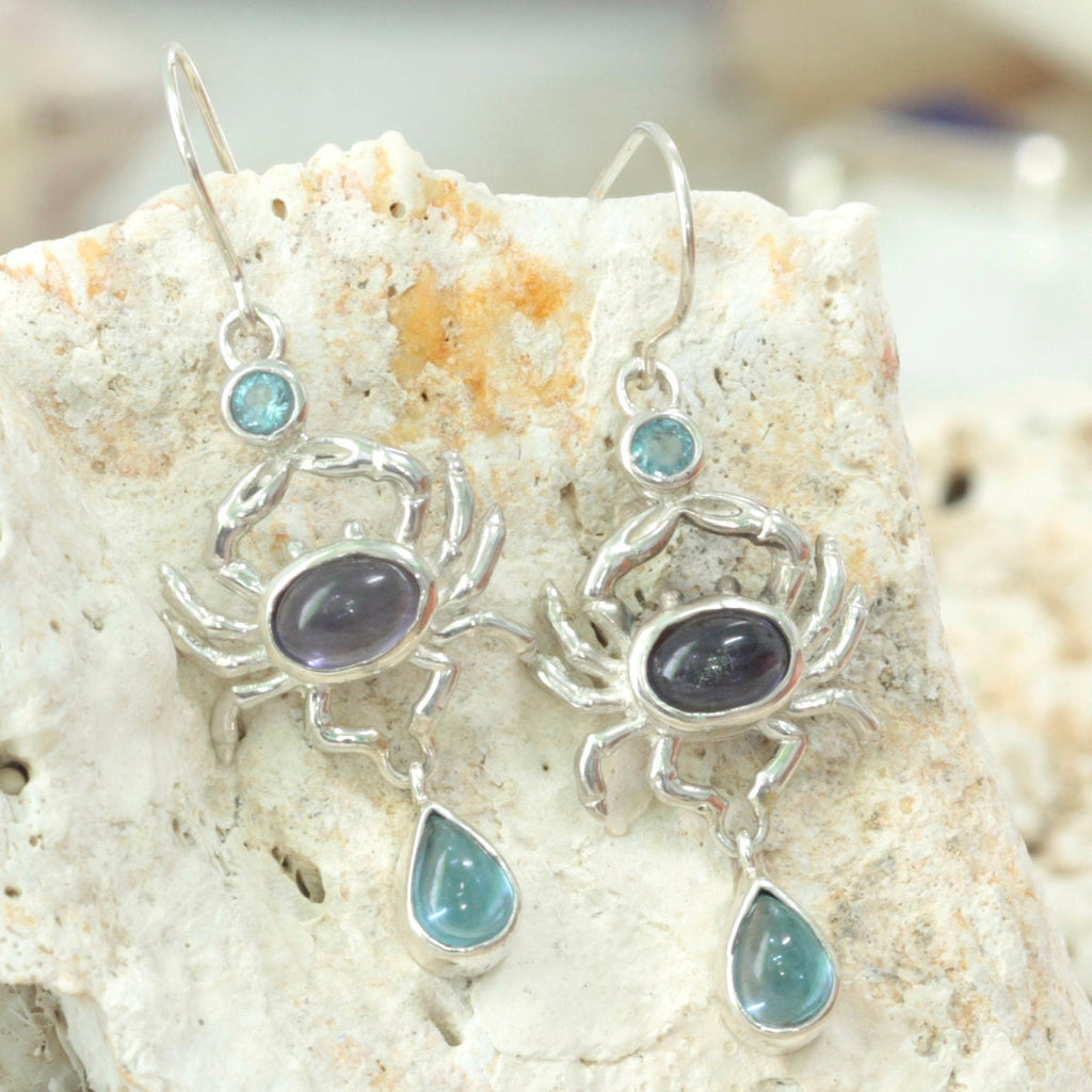 Blue Crab Earrings with blue topaz and Iolite!