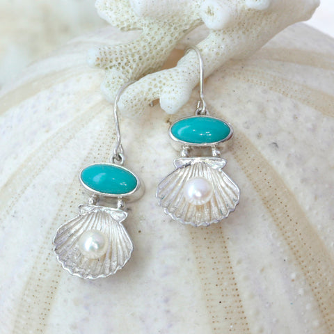 Adorable silver Sea shell earrings featuring sleeping beauty Beauty turquoise and freshwater pearl