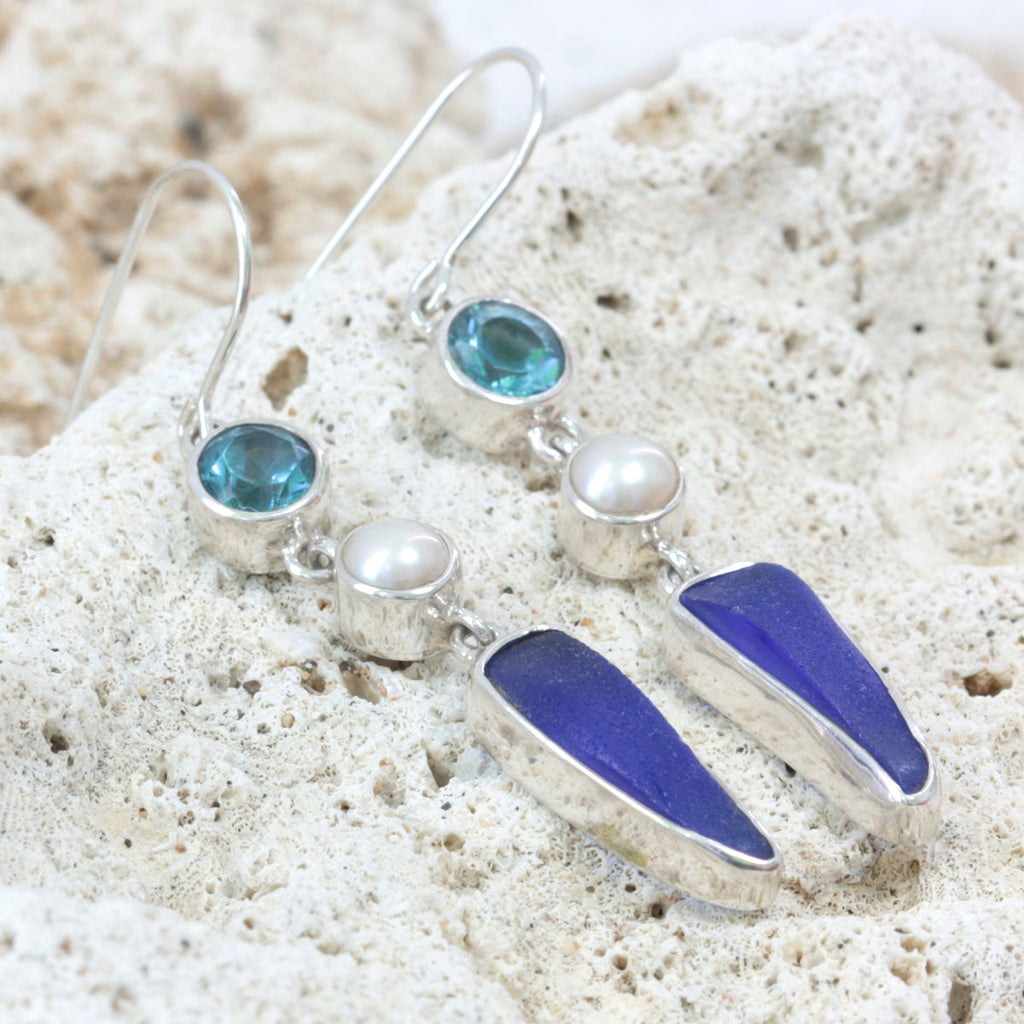 Unusual and Exquisite Blue Topaz and Cobalt blue sea glass Earring-handcrafted in Sterling Silver