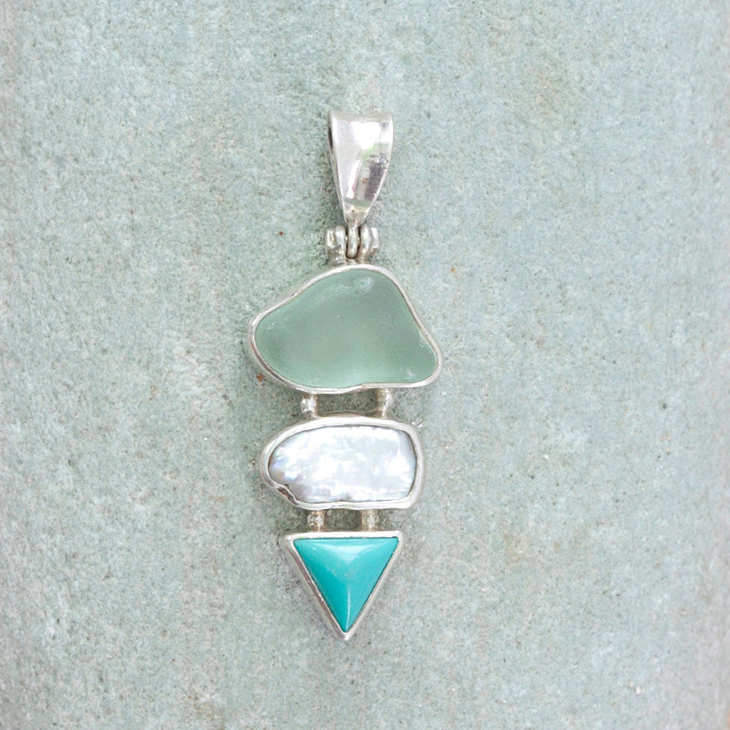 Gorgeous Sea Glass Pendant with Aqua sea Glass precious biwa pearl and sleeping Beauty turquoise! What an absolutely stunning combination