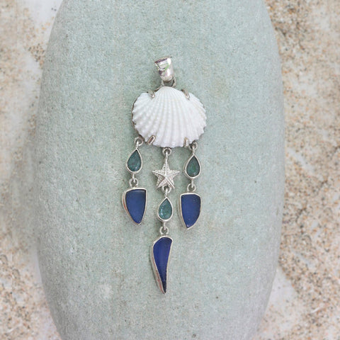 Dream catcher pendant with Drops of Cobalt blue Sea glass, Sea shell and blue topaz