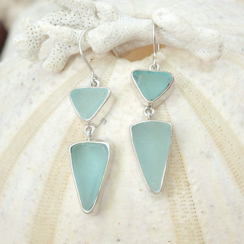 Sensational Sea Glass Earring! Genuine Aqua Sea Glass in a simple yet elegant design