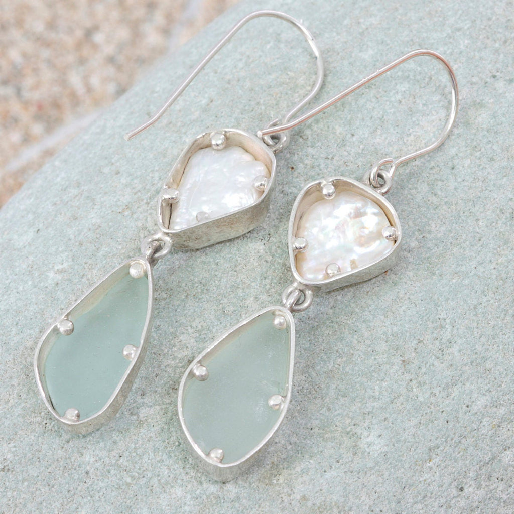 Simply Elegant! Genuine Aqua Sea Glass and Pearl Silver Earrings