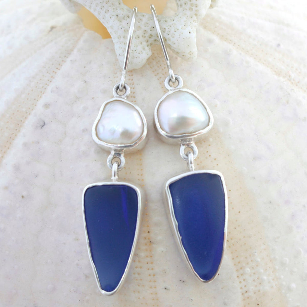 Cobalt Blue SEA GLASS Earring with white keshie pearl