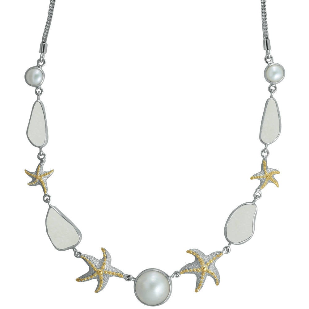 Sea Glass Necklace fit  for a beach bride! Silver Starfish with gold accents and mabe pearl is the perfect mix with snow white sea glass
