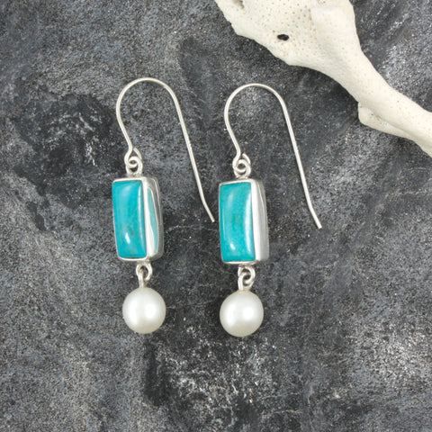 Sleeping Beauty Turquoise Earring- in a simple elegant setting