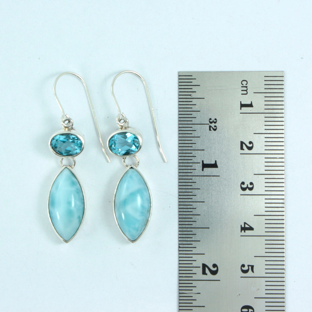 Blue Topaz & Larimar Silver Earrings