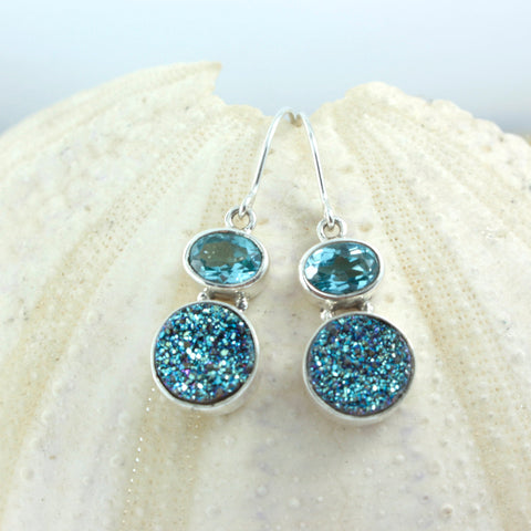 Add some Sparkle into your life with these sensational Blue Topaz and Druze Silver Earrings