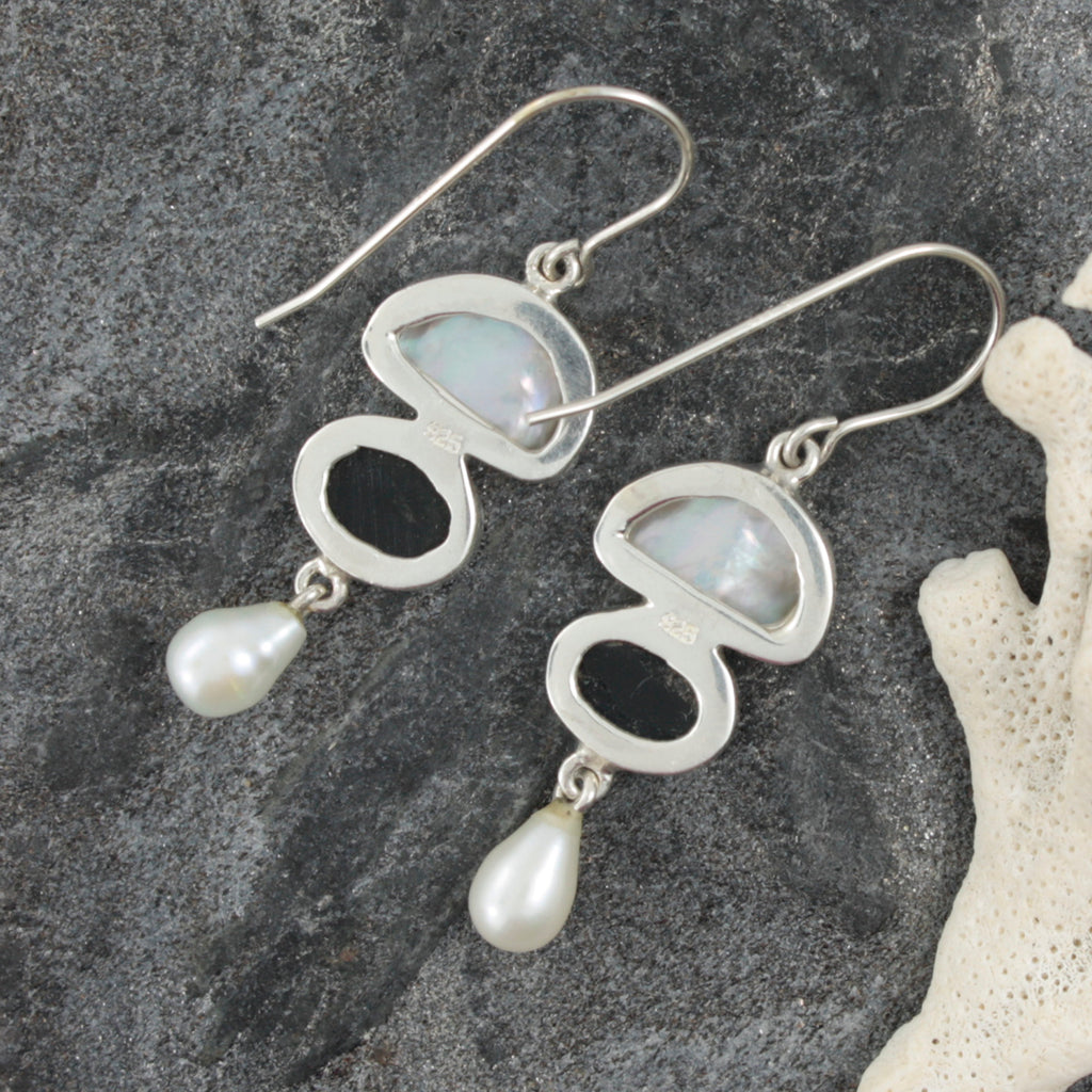 Simple Elegance is the inspiration  behind these PAUA shell and keshie pearl  earrings - hand crafted from sterling silver