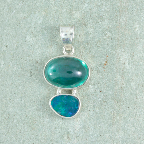 Stunning Silver Opal Pendant with Green Topaz