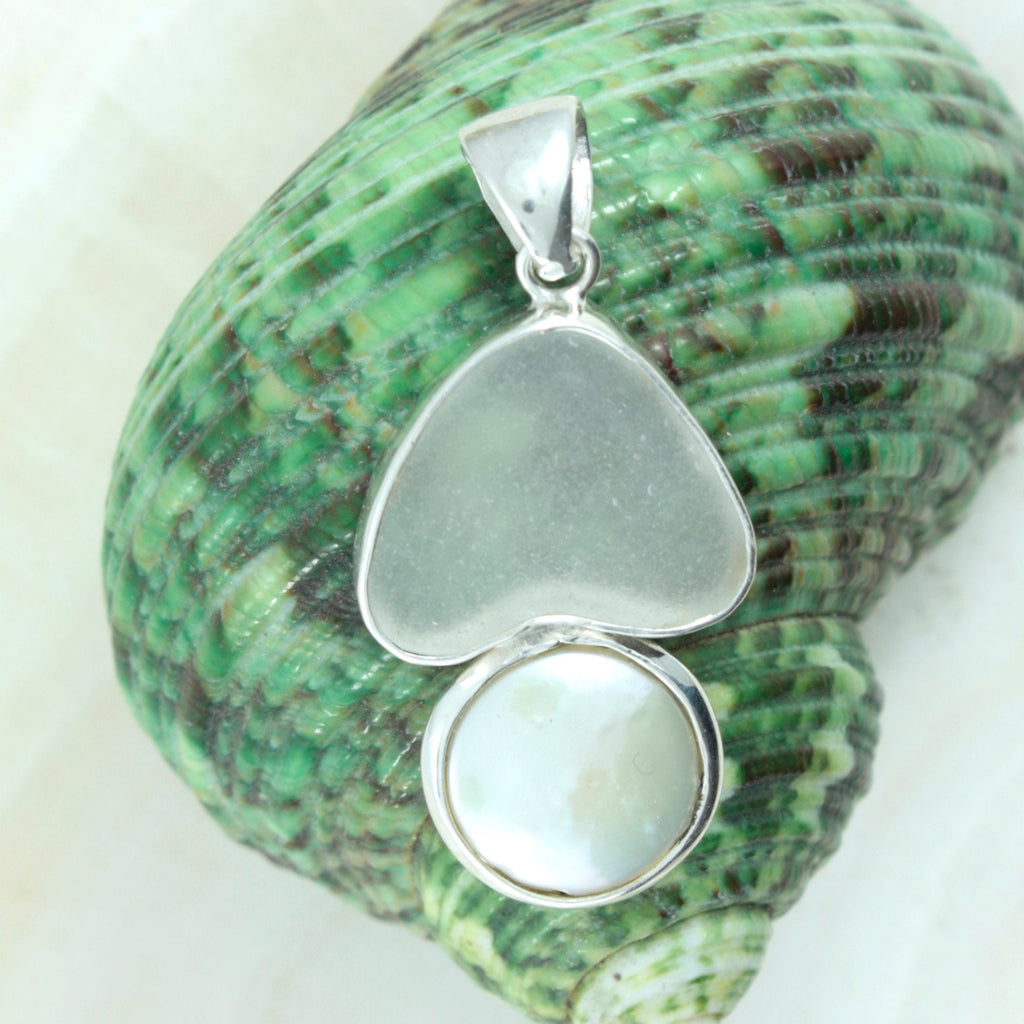 Genuine White Seaglass Heart set into a  Silver pendant with Coin Pearl-