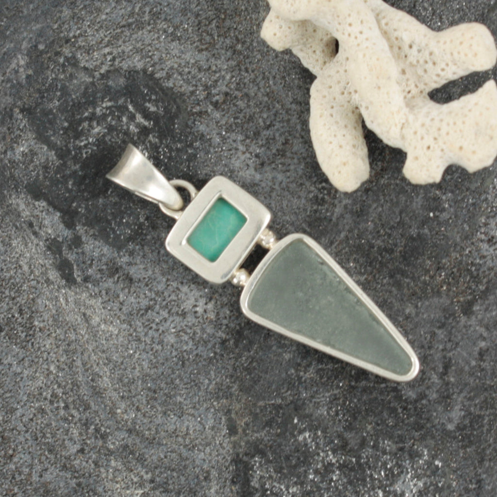 Genuine Turquoise and Aqua Seaglass Pendant