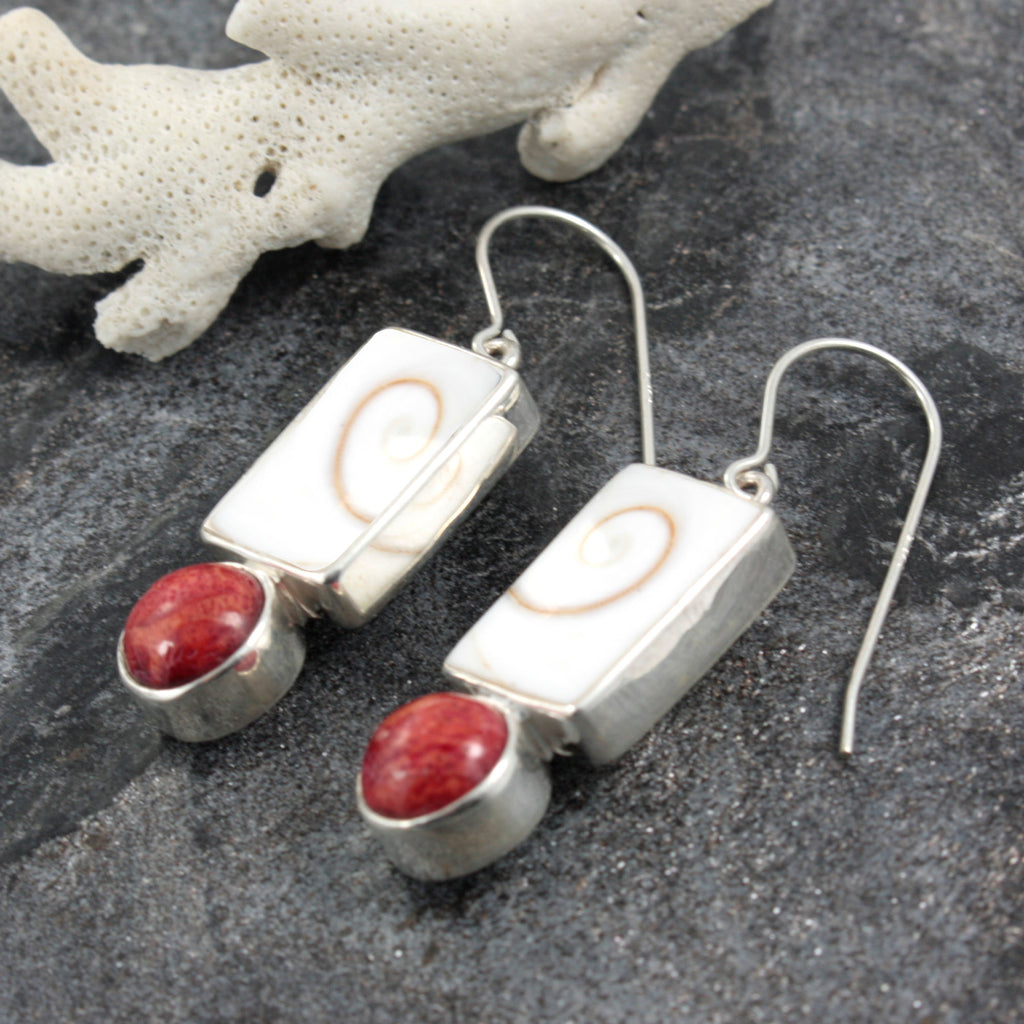 Spiral Shell and Coral  Earring Hand Crafted and set in Sterling Silver