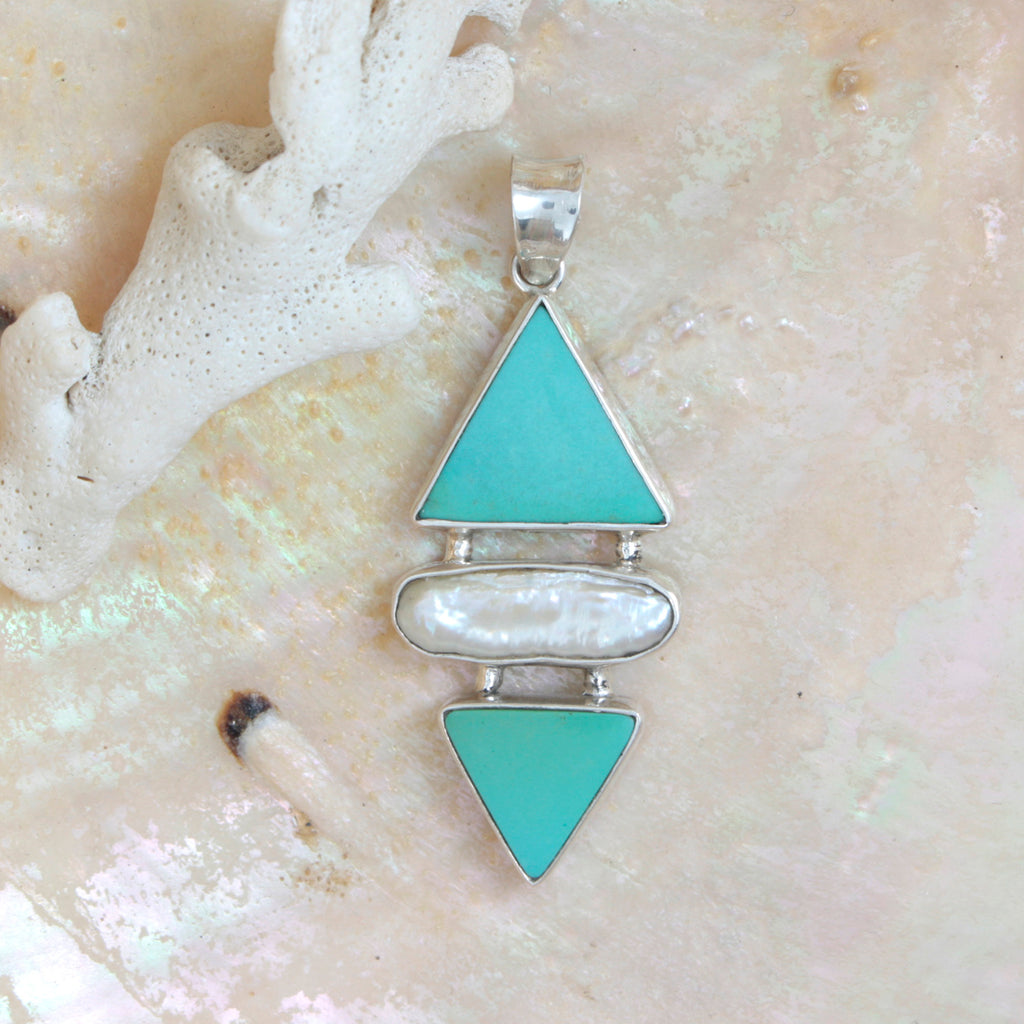 Stunning  Turquoise and Biwa Pearl Silver Pendant