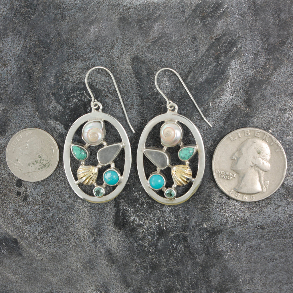 Sea Life Picture Earrings with sea glass, gem stones and seashells.  Bring home the beach!