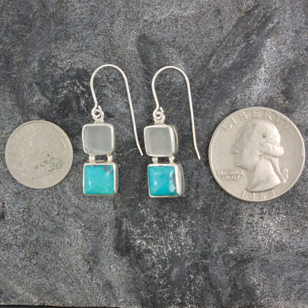 White Seaglass and Turquoise handmade Silver Earring