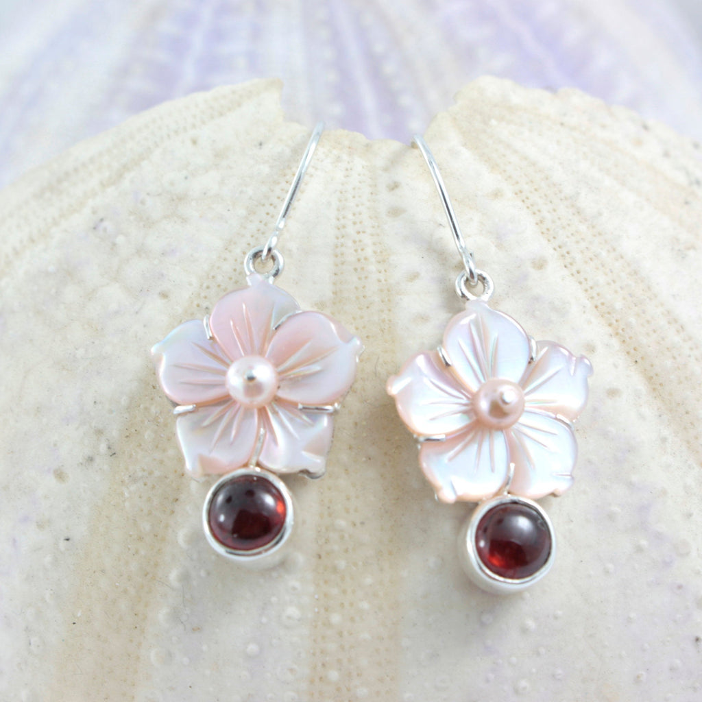 Pink Mother of Pearl Carved Flower earring