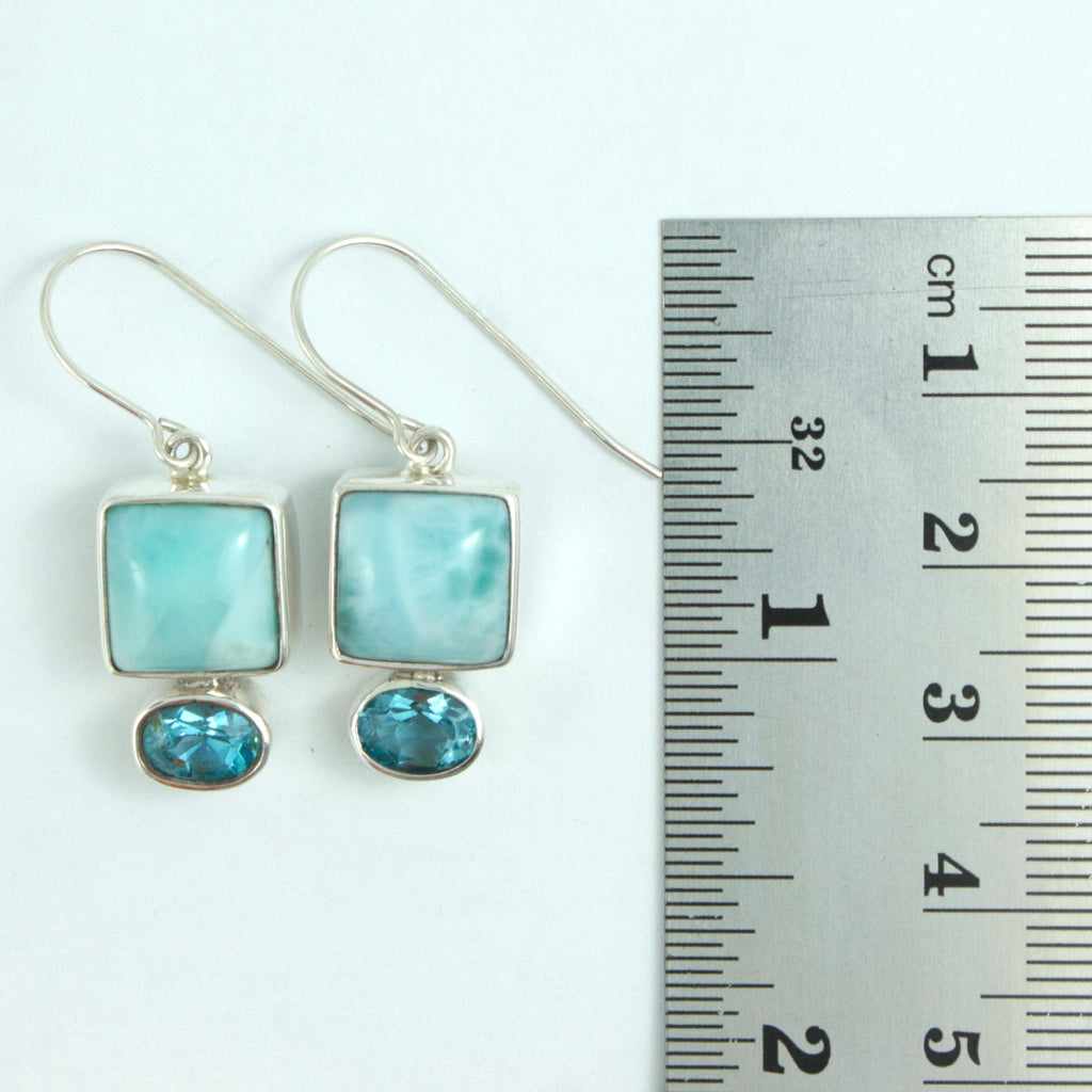 Luscious Larimar and Blue Topaz Earring