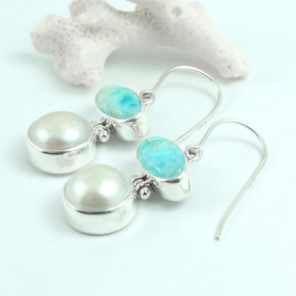 Larimar and Pearl Earring