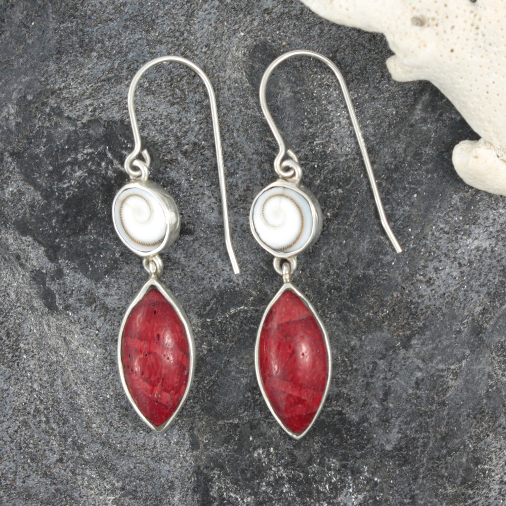 Sprial Shell and Sponge Coral Silver Earrings
