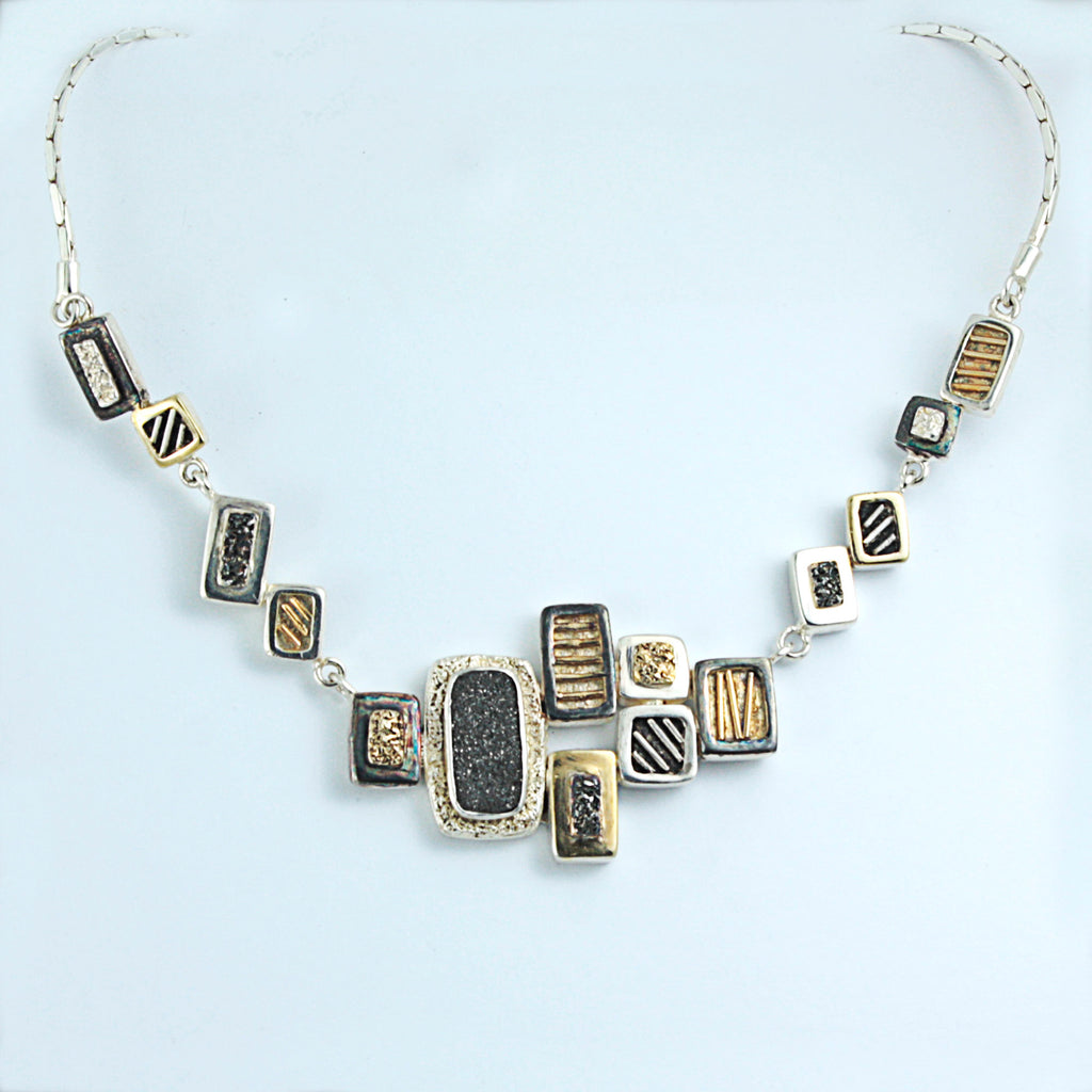 2 tone Metal works texture necklace