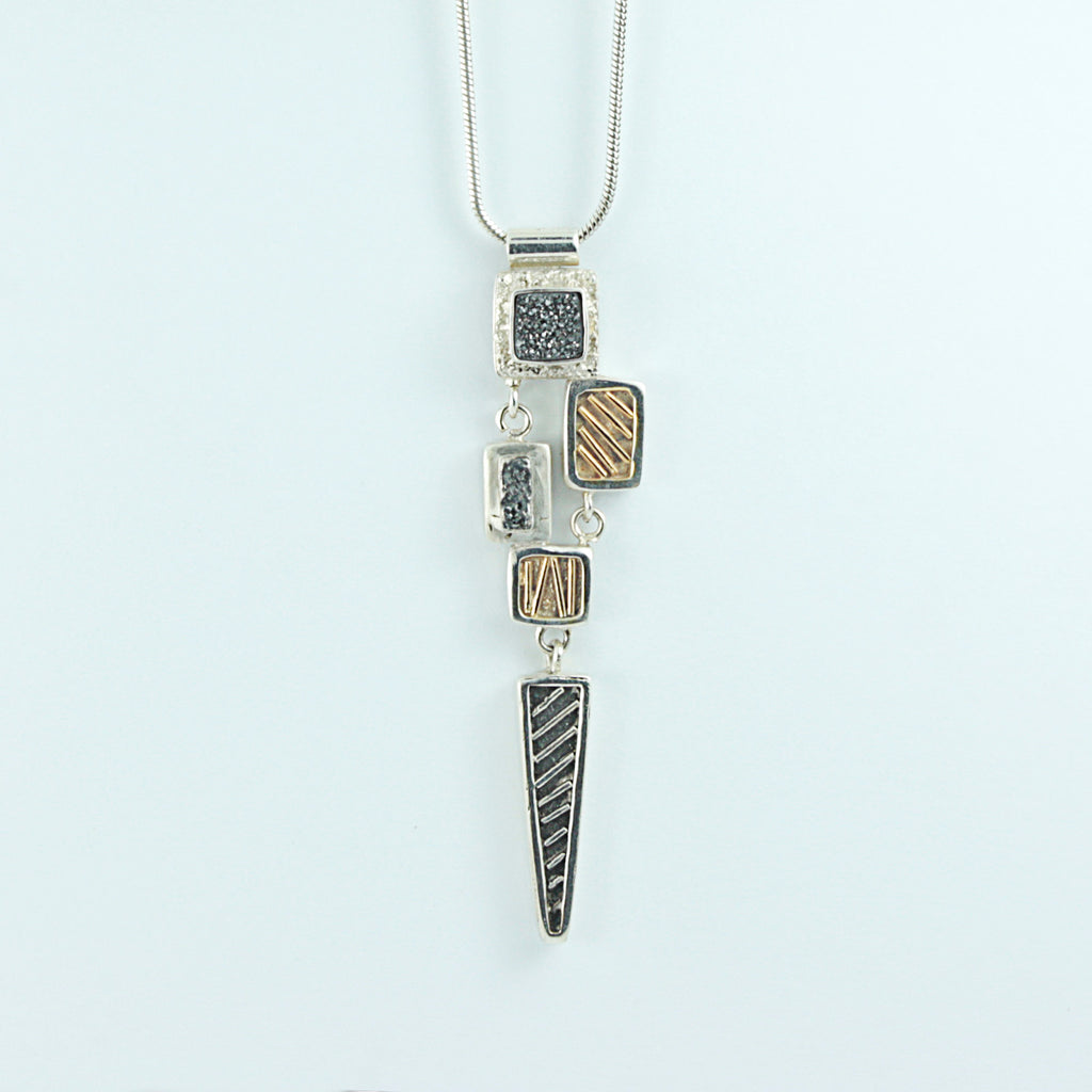 Mixed Metals Geometric two tone  Pendant