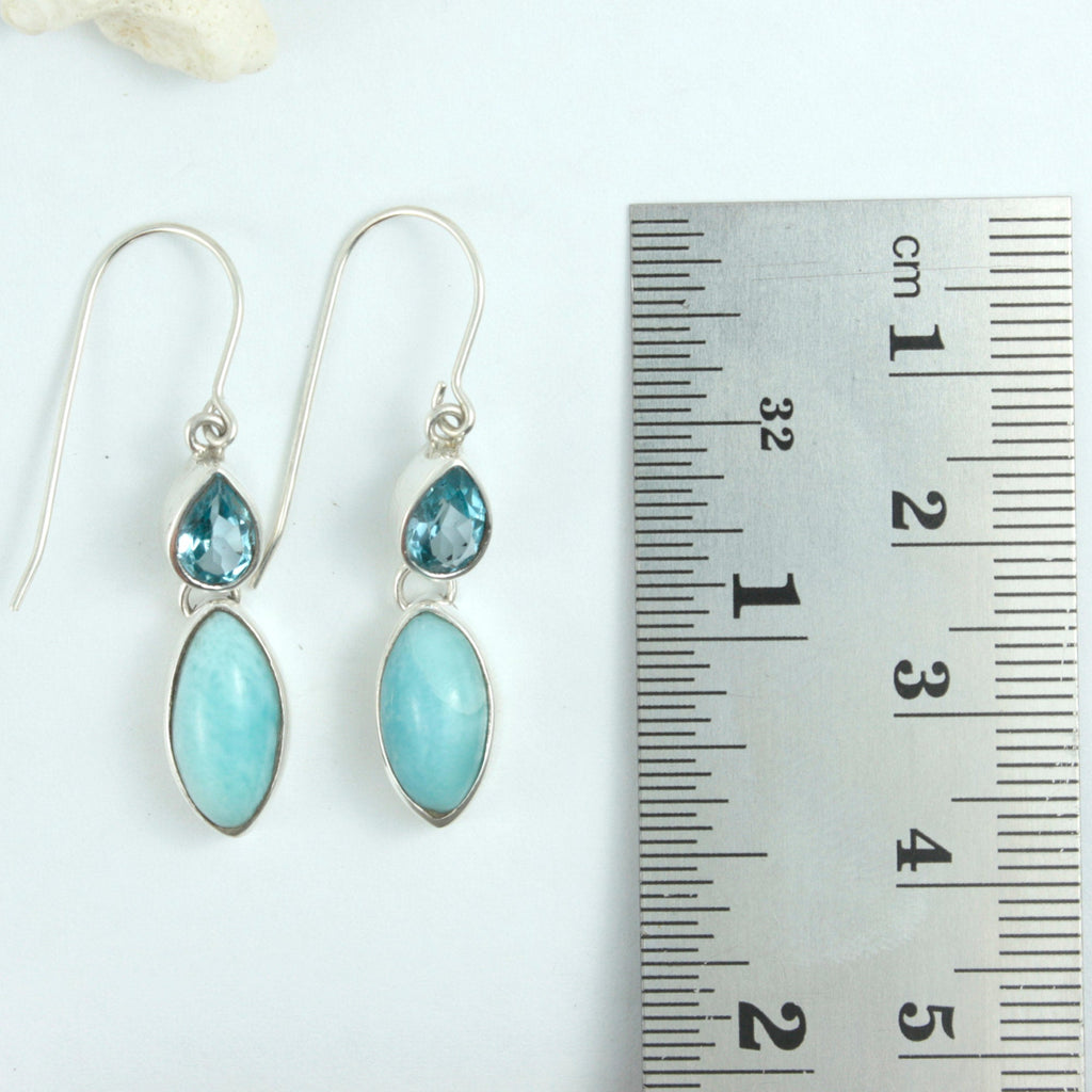 Stunning Larimar and Blue Topaz Drop Earrings