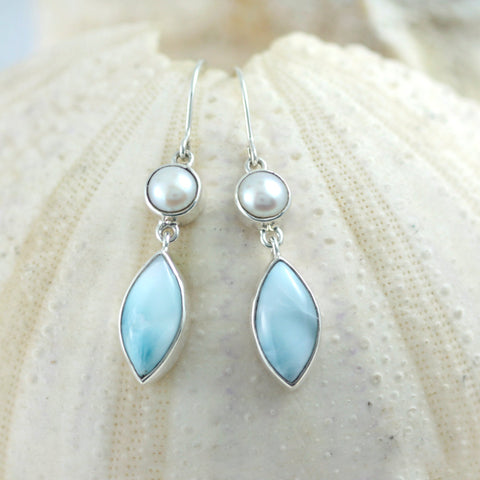 Larimar And Pearl Silver Earring