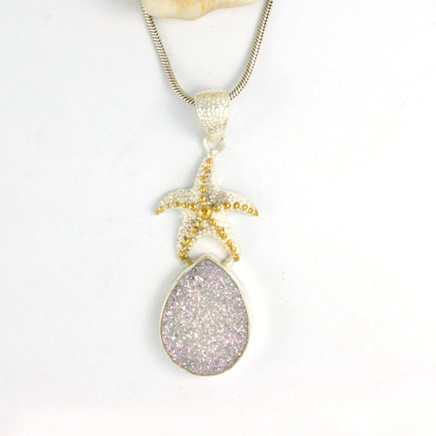 Silver Starfish and White opalized Druzy Pendant