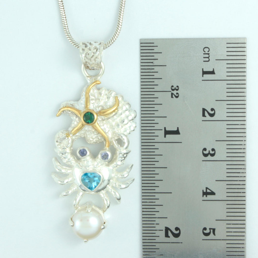 Silver Crab and Starfish Sealife Pendant encrusted with gemstones in Sterling Silver