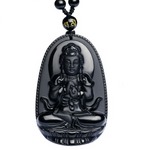 Carved Natural Black Obsidian Buddha Necklace
