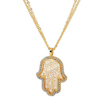 18k Gold Crystal Hamsa Necklace