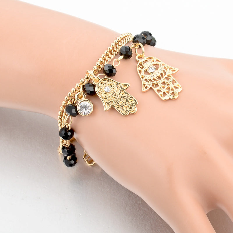 Gold Plated Hamsa Hand Bangle Bracelet