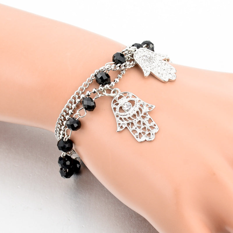 Platinum Plated Hamsa Hand Bangle Bracelet