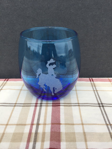 Steamboat Light Blue Tinted Stemless Wine Glass