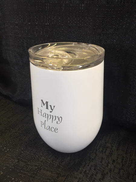 My Happy Place Tumbler - White